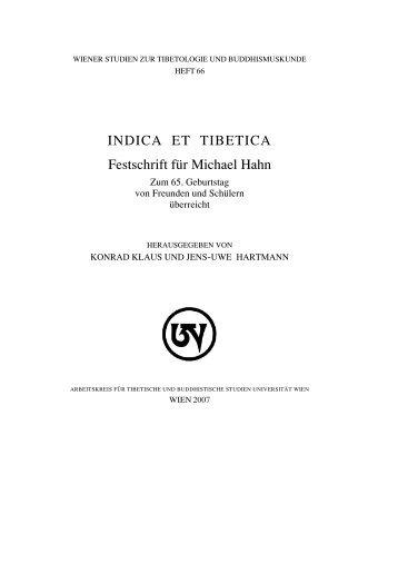 INDICA ET TIBETICA Festschrift für Michael Hahn
