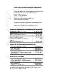 Übersicht über die Beteiligungen der Stadt Iserlohn