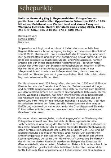 Heidrun Hamersky (Hg.): Gegenansichten ... - Sehepunkte