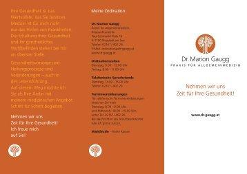 Ordinationsfolder - Ordination Dr. Marion Gaugg