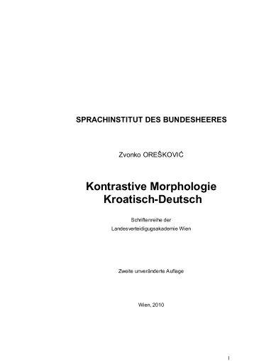 Kontrastive Morphologie Kroatisch-Deutsch