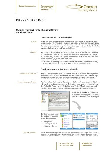 Projektbericht Leistungserfassung - Oberon Microsystems, Inc.