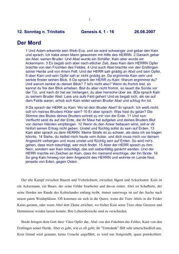Der Mord - Vorträge von Reinhart Gruhn