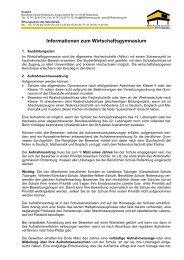 Infoblatt Wirtschaftsgymnasium - Berufliche Schule Rottenburg