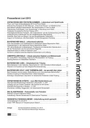 Pressedienst des Tourismusverbandes Ostbayern für Juni 2013