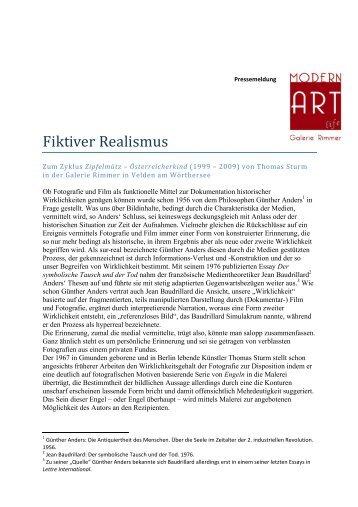 """""""Fiktiver Realismus"""" Einfuehrung Sturm - Galerie Rimmer"""