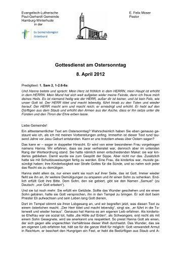 Gottesdienst am Ostersonntag 8. April 2012 - Alsterbund