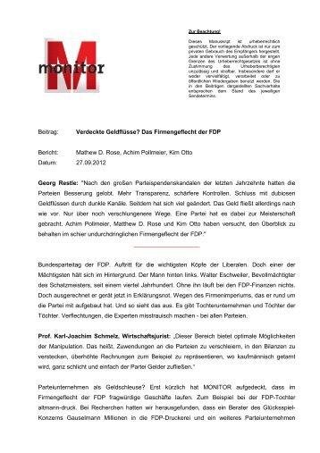 Beitrag: Verdeckte Geldflüsse? Das Firmengeflecht der ... - WDR.de