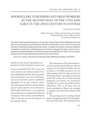 booksellers, publishers and press workers in the second half of the ...