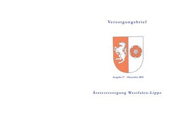 Versorgungsbrief 17/Dezember 2003 - Ärzteversorgung Westfalen ...