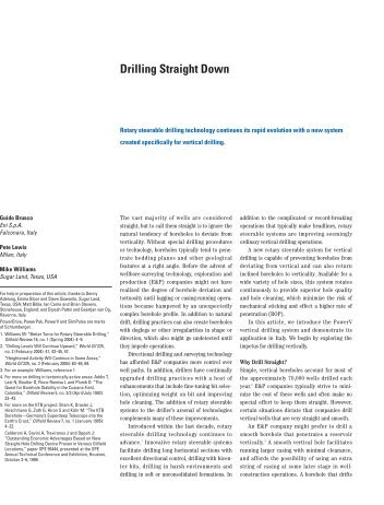 Drilling Straight Down - Schlumberger
