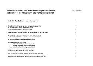 Werkstoffliste der Klaus Kuhn Edelstahlgiesserei GmbH