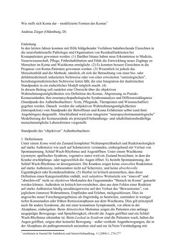 Wie stellt sich Koma dar - Prof. Dr. med. Andreas Zieger