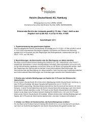 Erläuternder Bericht des Vorstands - Holcim