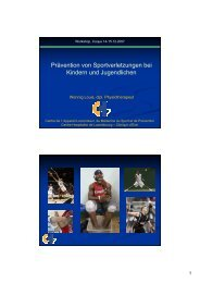 Prävention von Sportverletzungen bei Kindern und Jugendlichen