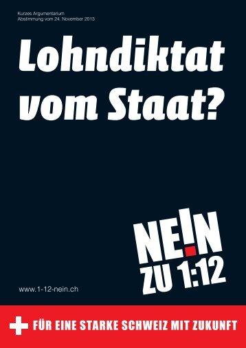 Das Kurzargumentarium - NEIN zur 1:12-Initiative der Jungsozialisten