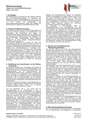 Allgemeine Geschäftsbedingungen für Wärmeversorgung - Hall AG
