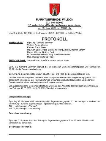 Protokoll 37. GRS vom 09.06.2009 - Marktgemeinde Wildon