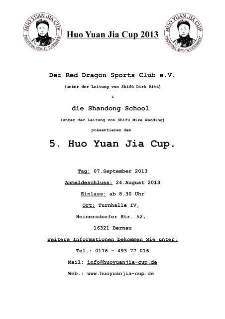 Regelwerk Sanda - Huo Yuan Jia Cup