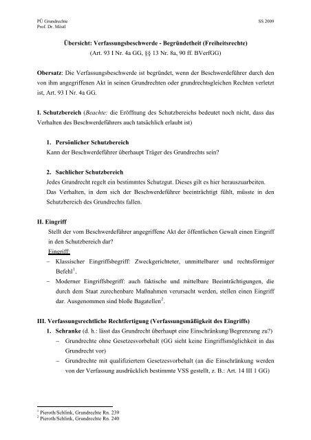 Übersicht: Verfassungsbeschwerde - Begründetheit (Freiheitsrechte ...