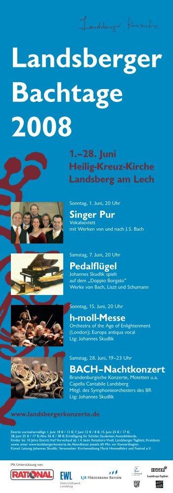 Programm Bach - Landsberger Konzerte