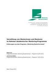 Vermittlung von Mentorinnen und Mentoren - Mentoring ...