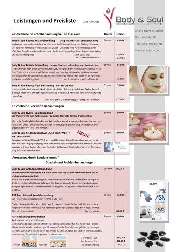 Leistungen und Preisliste Stand 01.09.2011 - Body & Soul