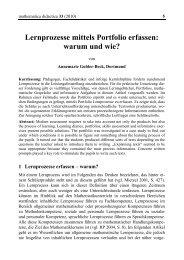 Lernprozesse mittels Portfolio erfassen - mathematica didactica