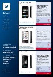 Inhaltsverzeichnis Mobiltelefone Spezialangebote Swisscom - Digitec