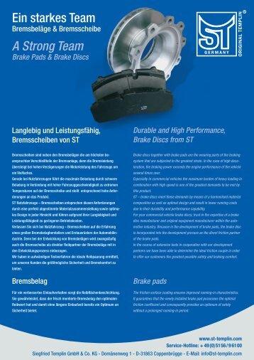 Bremsbelag und Scheibe/ Brake pad and disc - ST-Templin.com