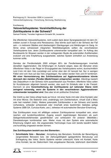 Veloverleihsysteme: Vereinheitlichung der Zutrittsysteme in der ...