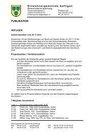 Offizielle Publikation der Gemeindeverwaltung - Aefligen