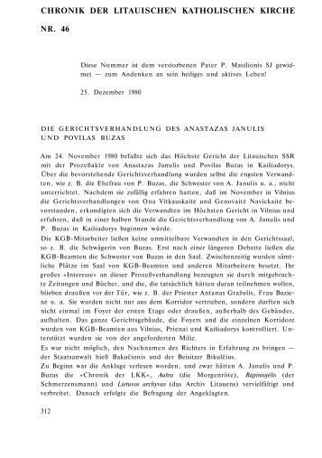 CHRONIK DER LITAUISCHEN KATHOLISCHEN KIRCHE NR. 46