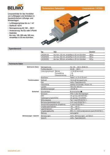 Technisches Datenblatt Linearantrieb LH230A..