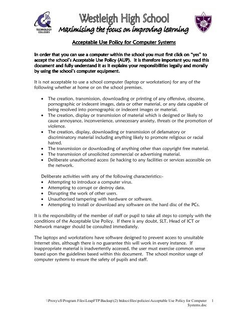 Acceptable Use Policy for Computer Systems - Westleigh High School