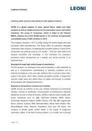 Führender Hersteller von Kabelsystemen mit globaler ... - LEONI