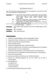 Niederschrift 30. Sitzung - Gemeinde Zwischenwasser