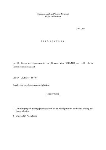 Magistrat der Stadt Wiener Neustadt Magistratsdirektion 19.03.2008 ...