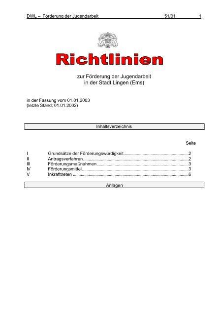 51-01 Richtlinien zur Förderung der Jugendarbeit - Stadt Lingen