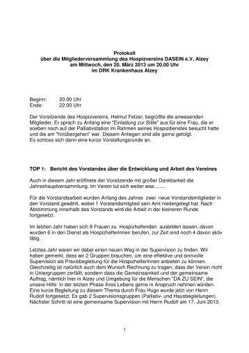 Versammlung 2013 - Hospizverein DASEIN eV Alzey