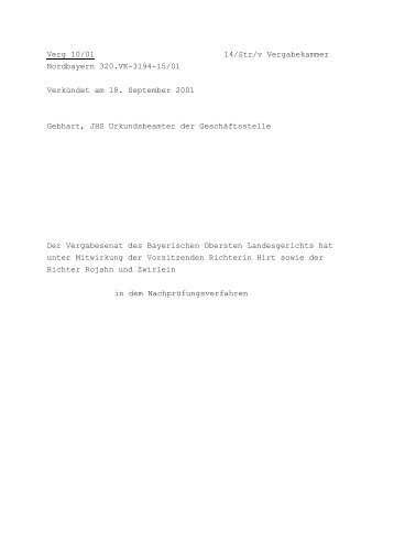 Verg 10/01 14/Str/v Vergabekammer Nordbayern 320.VK-3194-15 ...