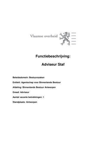 Functiebeschrijving: Adviseur Staf - Jobpunt Vlaanderen