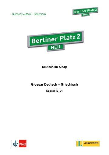 Berliner Platz 2 Neu Griechisches Glossar - Klett