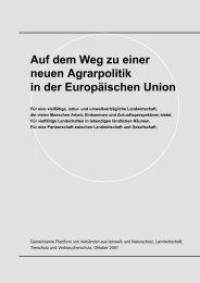 Auf dem Weg zu einer neuen Agrarpolitik in der Europäischen Union