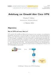 Anleitung für VPN-Einwahl - Hochschule Biberach