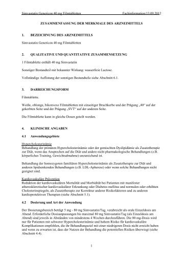 Simvastatin Genericon 40 mg Filmtabletten - Genericon Pharma ...