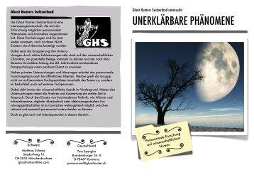 Unser Flyer - Ghost Hunters Switzerland / Geisterjäger Schweiz Seht ...