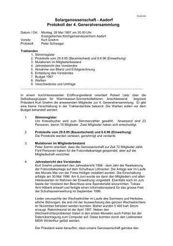 verein treffpunkt egg protokoll der 4. generalversammlung vom 21, Einladung