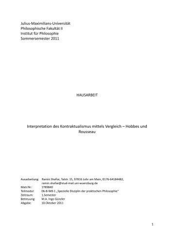 Interpretation des Kontraktualismus mittels Vergleich – Hobbes und ...