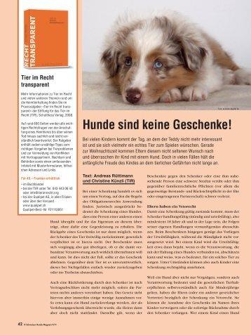 Hunde sind keine Geschenke! - Stiftung für das Tier im Recht